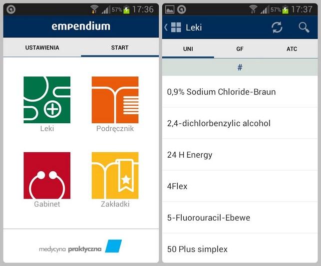 eMPendium - ekran startowy aplikacji